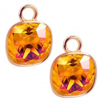 Rosegold Charm Anhänger 2 Stück 925 Sterling Silber Orange Swarovski Kristalle NOBEL SCHMUCK®