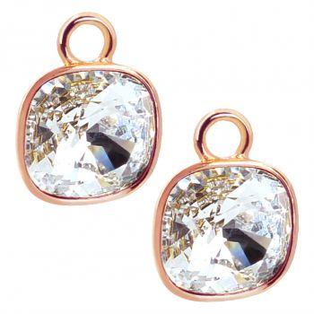 Charm Anhänger 2 Stück Rosegold 925 Sterling Silber für Creolen Markenkristalle NOBEL SCHMUCK®