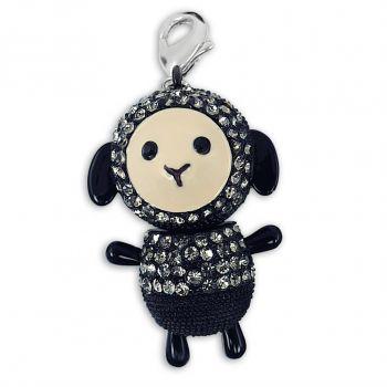 Charm Schaf mit Kristalle von Swarovski® Silber Schwarz NOBEL SCHMUCK