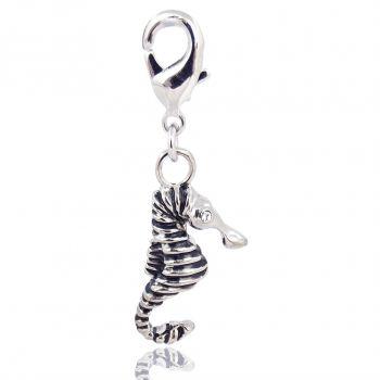 Charm Seepferdchen mit Kristalle von Swarovski® Silber Crystal NOBEL SCHMUCK
