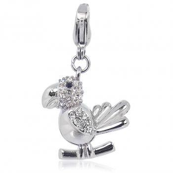 Charm Papagei mit Kristallen von Swarovski® Silber Anhänger NOBEL SCHMUCK