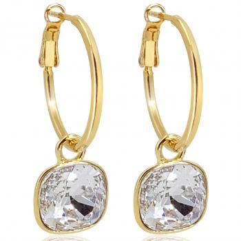 Gold Creolen mit Swarovski® Kristalle Ohrringe 925 Sterling VIELE FARBEN 2 GRÖSSEN - NOBEL SCHMUCK