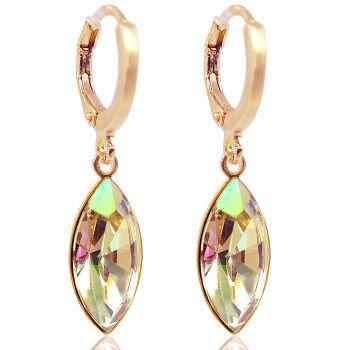 Rosegold Creolen mit Kristallen von Swarovski® Grün Gelb NOBEL SCHMUCK