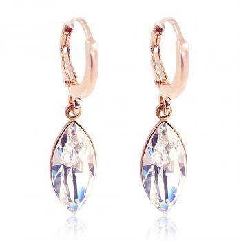 Creolen mit Kristallen von Swarovski® Weiß Rosegold Crystal NOBEL SCHMUCK