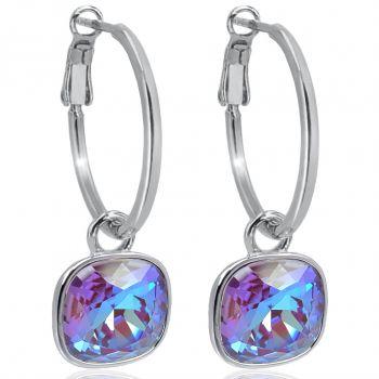 Silber-Creolen 925 Sterling Silver Anhänger Lila mit Swarovski® Kristallen Ohrringe NOBEL SCHMUCK