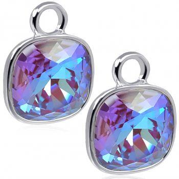 Charm Anhänger 2 Stück 925 Sterling Silber Lila Beere für Creolen Swarovski Kristalle NOBEL SCHMUCK®