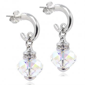 Nobel Silber-Creolen mit Kristallen Damen-Ohrringe Silber Aurore Boreale