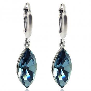 Creolen mit Kristallen von Swarovski® Silber Denim Blau NOBEL SCHMUCK