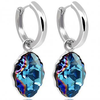Creolen 925 Sterling Silber Kristalle von Swarovski® Blau NOBEL SCHMUCK