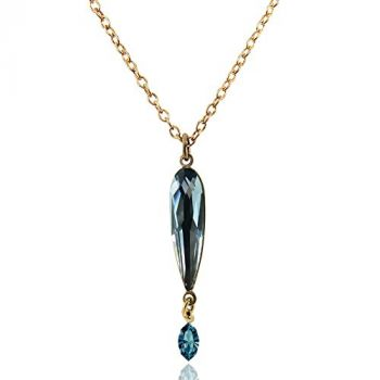 Kette mit Kristallen von Swarovski® Gold Blau NOBEL SCHMUCK