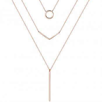 Damen-Kette Mehrreihig 925 Sterling Silber Rosegold vergoldet Minimalistisch NOBEL SCHMUCK