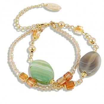 NOBEL SCHMUCK Hippie-Armband Achat mit Kristalle von Swarovski® Gold Grün Strass Perlen