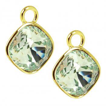 Charm Anhänger 2 Stück Gold 925 Sterling Silber für Creolen Markenkristalle Grün NOBEL SCHMUCK®