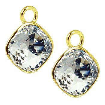 Charm Anhänger 2 Stück Gold 925 Sterling Silber für Creolen Markenkristalle NOBEL SCHMUCK®