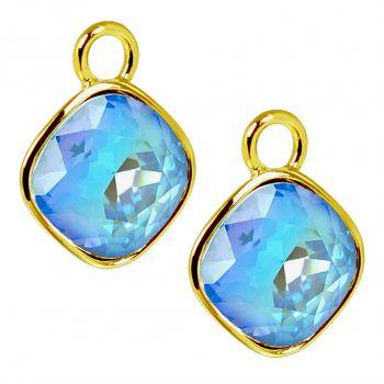 Charm Anhänger 2 Stück Gold 925 Sterling Silber für Creolen Markenkristalle Blau NOBEL SCHMUCK®