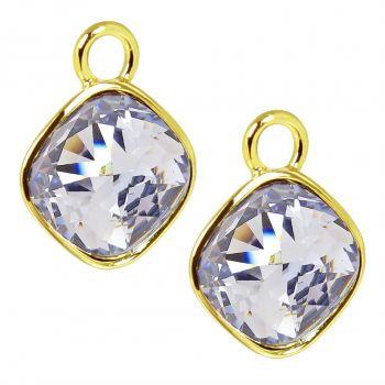 Charm Anhänger 2 Stück Gold 925 Sterling Silber Lila für Creolen Markenkristalle NOBEL SCHMUCK®
