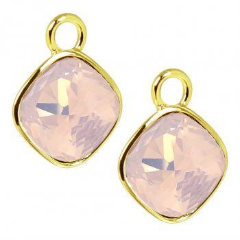 Charm Anhänger 2 Stück Gold 925 Sterling Silber Rosa für Creolen Swarovski Kristalle NOBEL SCHMUCK®