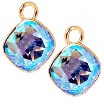 Charm Anhänger 2 Stück Gold 925 Sterling Silber für Creolen Swarovski Kristalle Blau NOBEL SCHMUCK®