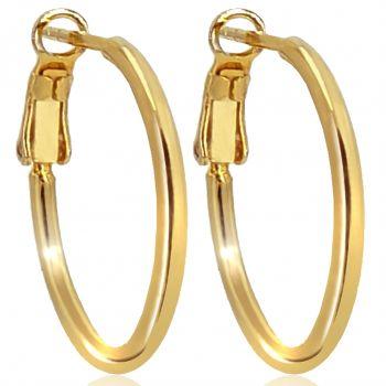 Gold-Creolen Ohrringe 925 Sterling 24 kt vergoldet Durchmesser 20 mm Klappverschluss NOBEL SCHMUCK®