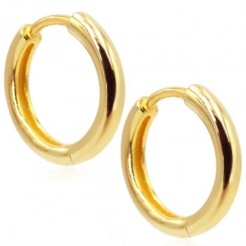 Gold-Creolen Ohrringe 925 Sterling 24 kt vergoldet Durchmesser 14 mm NOBEL SCHMUCK®