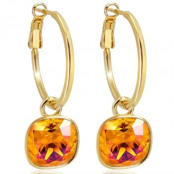 Gold Creolen Charm Markenkristalle Ohrringe 925 Sterling Orange NOBEL SCHMUCK