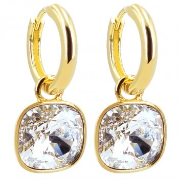 Gold Creolen Charm Anhänger Markenkristalle Ohrringe 925 Sterling NOBEL SCHMUCK