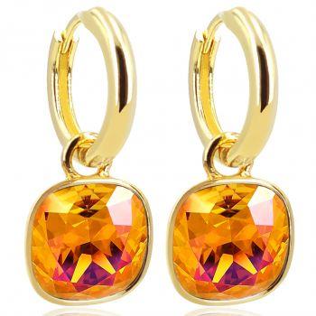 Gold Creolen Charm Anhänger Markenkristallen Ohrringe 925 Sterling Orange NOBEL SCHMUCK