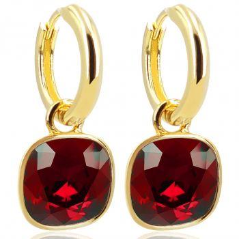 Gold Creolen Charm Anhänger Markenkristallen Ohrringe 925 Sterling Rot NOBEL SCHMUCK