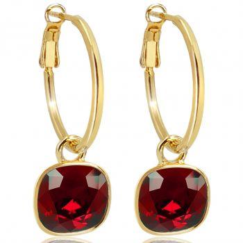 Gold Creolen Charm Anhänger Markenkristalle Ohrringe 925 Sterling Rot NOBEL SCHMUCK