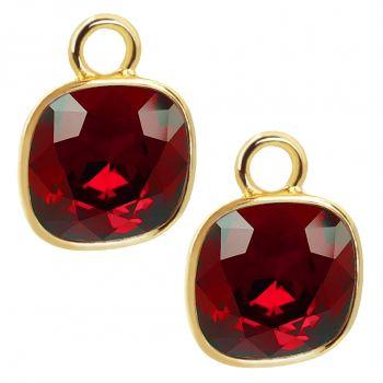 Charm Anhänger 2 Stück Gold 925 Sterling Silber für Creolen Markenkristalle Rot NOBEL SCHMUCK®