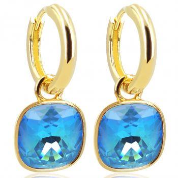 Gold Creolen Charm Anhänger Markenkristallen Ohrringe 925 Sterling Türkis NOBEL SCHMUCK