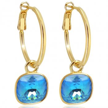 Gold Creolen Charm Markenkristalle Ohrringe 925 Sterling Blau NOBEL SCHMUCK