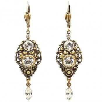NOBEL SCHMUCK Jugendstil Ohrringe Gold mit Kristallen von Swarovski®