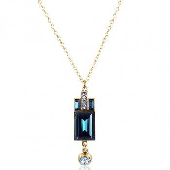 Art Deco Kette Gold Blau mit Kristallen von Swarovski® Damen NOBEL SCHMUCK