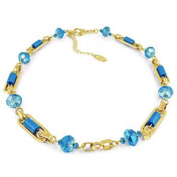 NOBEL SCHMUCK Goldene Kette massiv mit blauen Kristallen