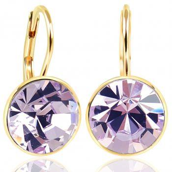 NOBEL SCHMUCK Ohrringe Gold Violet mit Kristallen von Swarovski® 925 Sterling - schlicht modern