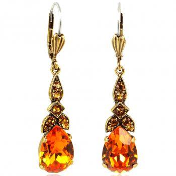 Jugendstil Ohrringe mit Kristallen von Swarovski® Gold Orange NOBEL SCHMUCK