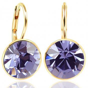 NOBEL SCHMUCK Ohrringe Gold Lila mit Kristallen von Swarovski® 925 Sterling - schlicht modern