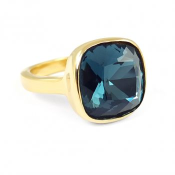 Ring Gold Blau Indicolite Gr. 56 mit Kristallen von Swarovski® - NOBEL SCHMUCK