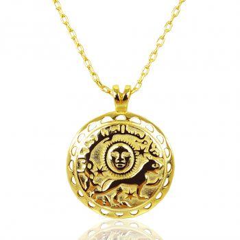 NOBEL SCHMUCK Halskette Small Coin 18-karätigen Vergoldung