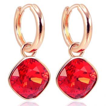 Rosegold Creolen Rot Charm Anhänger Markenkristallen Ohrringe 925 Sterling NOBEL SCHMUCK