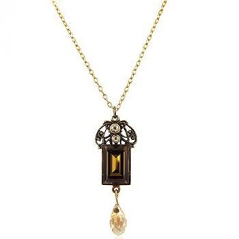 Jugendstil Kette mit Kristallen von Swarovski® Gold Braun NOBEL SCHMUCK