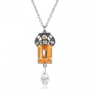 Jugendstil Kette mit Kristallen von Swarovski® Pfirsich Silber NOBEL SCHMUCK