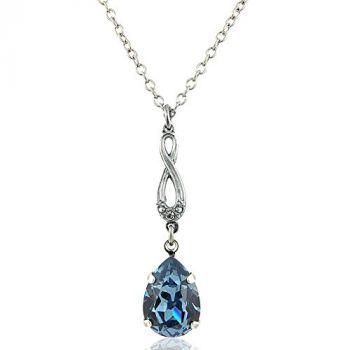 Jugendstil Kette mit Kristall von Swarovski® Silber Blau NOBEL SCHMUCK