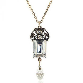Jugendstil Kette mit Kristallen von Swarovski® Gold NOBEL SCHMUCK