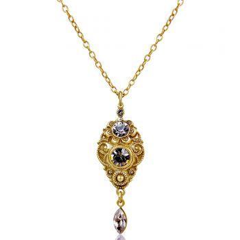 Jugendstil Kette Gold Greige mit Kristallen von Swarovski® - Damen Halskette NOBEL SCHMUCK
