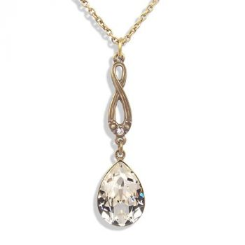 Jugendstil Kette mit Kristallen von Swarovski® Gold Crystal NOBEL SCHMUCK