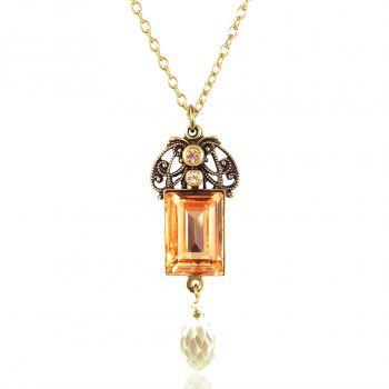 Jugendstil Kette Gold mit Kristallen von Swarovski® Pfirsich NOBEL SCHMUCK