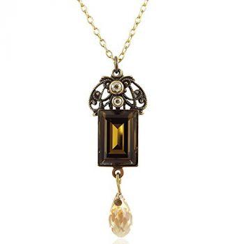 Jugendstil Kette mit Kristalle von Swarovski® Gold NOBEL SCHMUCK