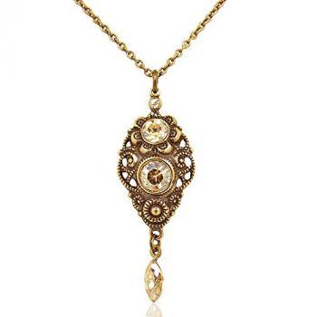 Jugendstil Kette mit Kristallen von Swarovski® Gold Golden Shadow NOBEL SCHMUCK